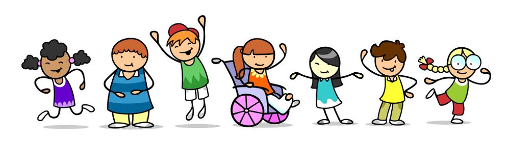 Grupa dzieci stoi obok siebie, są uśmiechnięci izadowoleni, wsród nich znajduję się dziecko nawózku inwalidzkim.